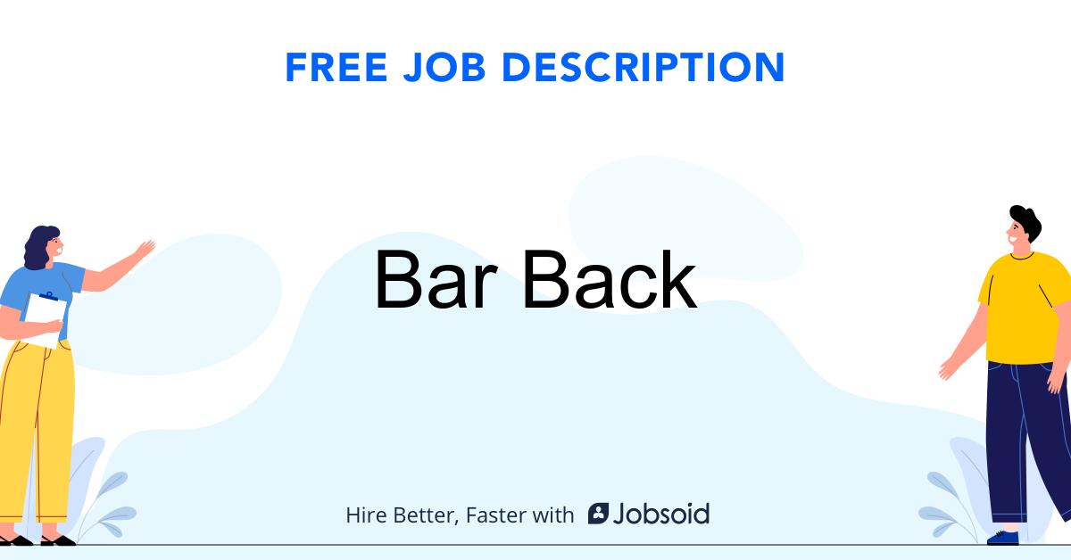Bar Back Job Description - Image