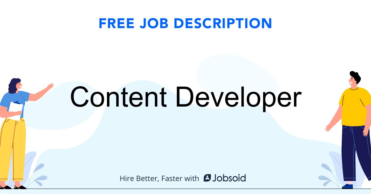Content Developer Job Description - Image