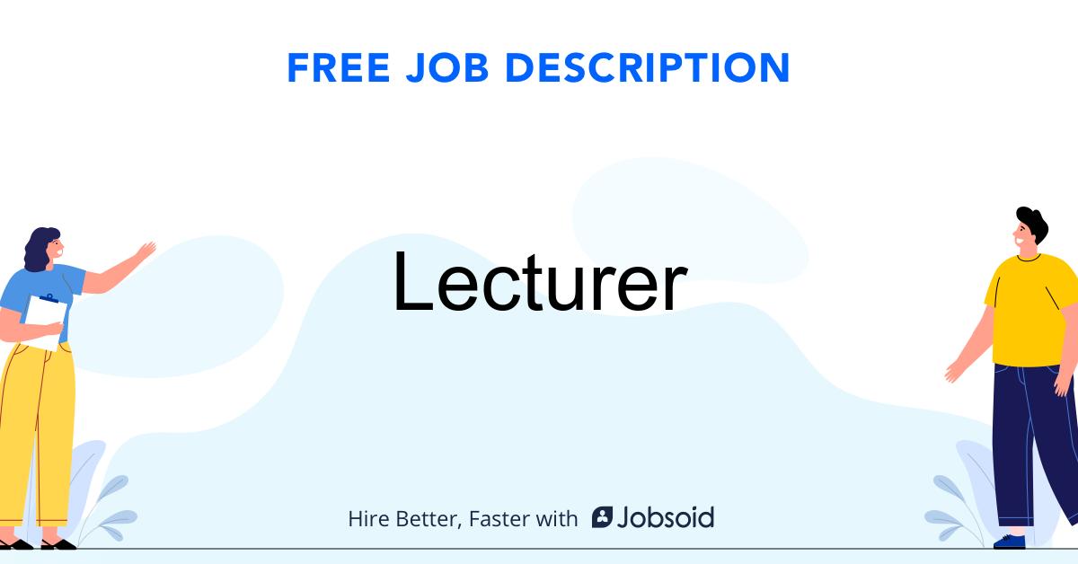 Lecturer Job Description Template - Jobsoid