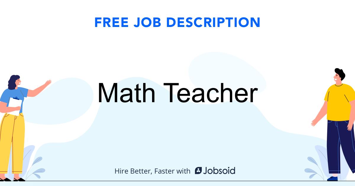 Math Teacher Job Description Template - Jobsoid